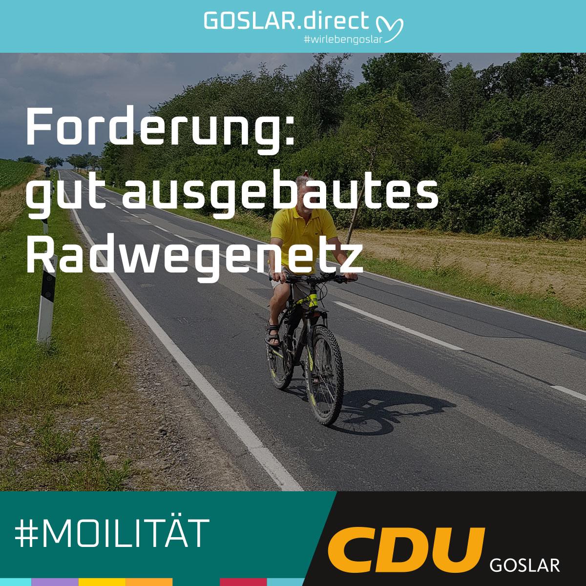 Forderung: gut ausgebautes Radwegenetz